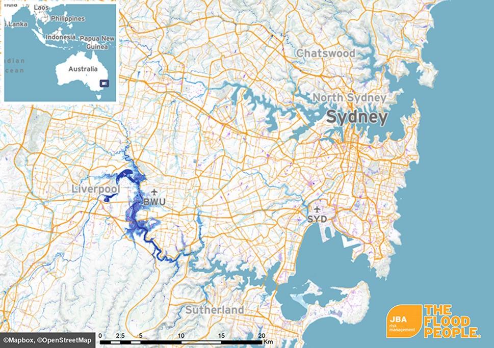 Sydney On Australia Map.Flooding In Sydney Jba Risk Management